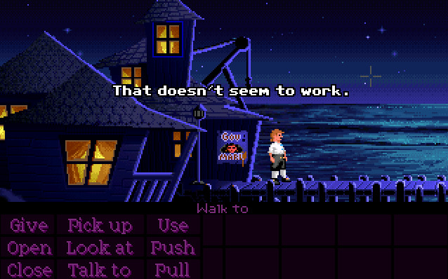 Guybrush Threepwood has just arrived at Melee Island and is trying out things that do not seem to work.